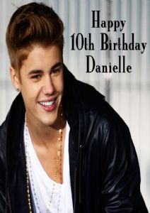 Personalised Justin Bieber Birthday Card